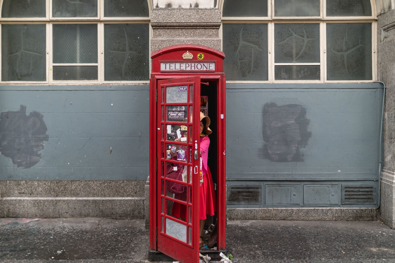 red, communication, day, built structure, outdoors, no people, architecture, building exterior, telephone booth, pay phone