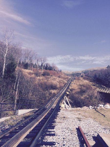 EyeEm Selects Railroad Track Transportation Rail Transportation No People Day Railway Track Outdoors Nature Landscape Beauty In Nature Sky Tree NewEnglandWinter Mountain