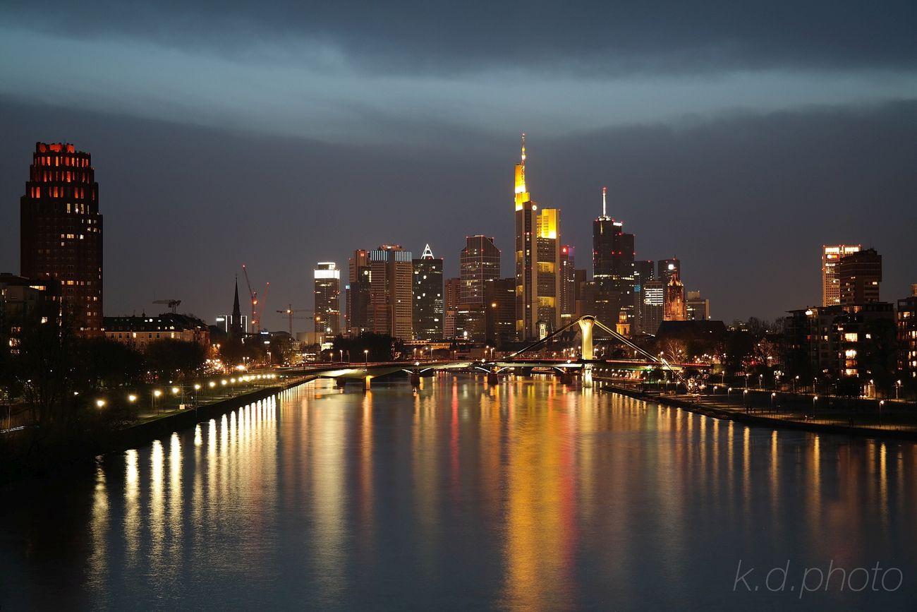Into the Night ... Frankfurt Am Main Night Lights Skyline Frankfurt