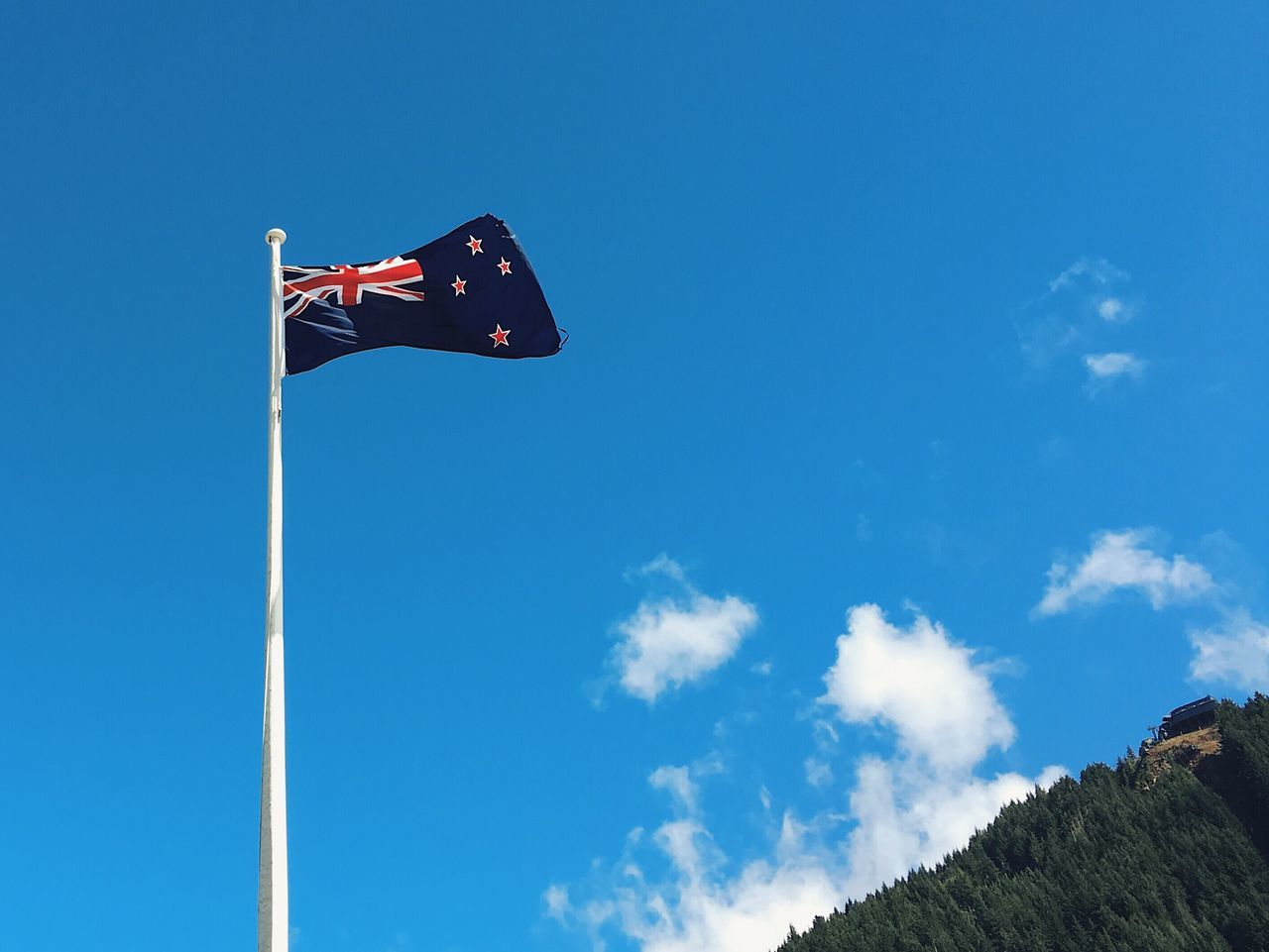Flag Patriotism Low Angle View Blue Sky Cultures Waving No People Day Outdoors New Zealand