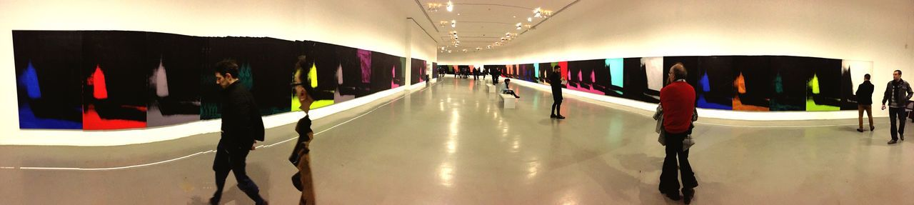 panoramic, illuminated, indoors, large group of people, day