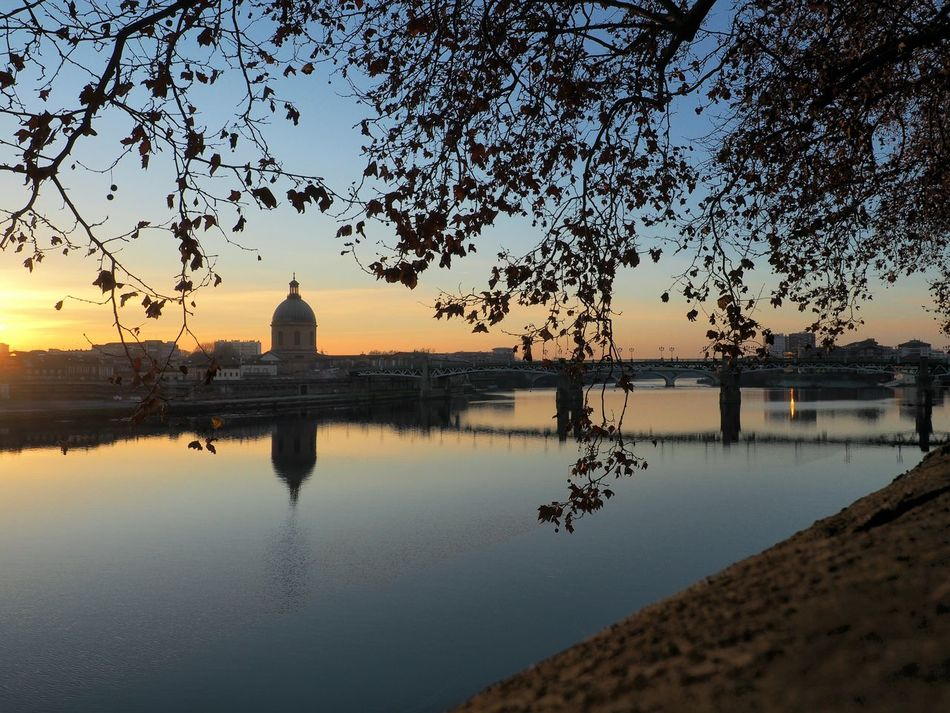 Sunset Reflection Water Silhouette Outdoors Landscape Urban Skyline Place Of Worship Mood Captures Toulouse France Architecture The Week On EyeEm