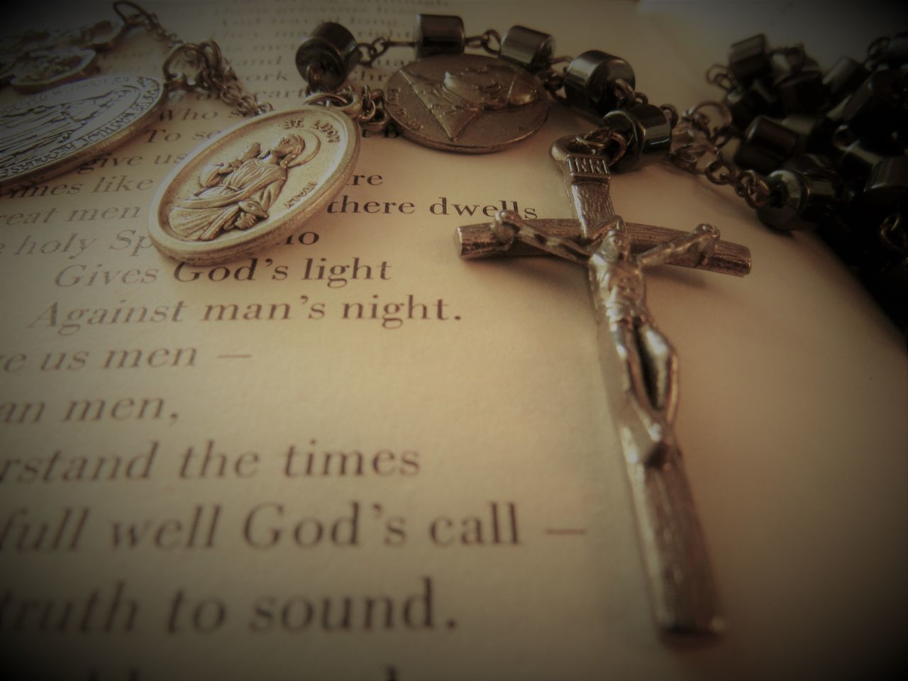 Bible and Rosary Alphabetography Antique Bible Verses Chain Church Close-up Cross God Is Great. History Old-fashioned Prayer Reading A Book Religious Place Sacred Text The Past Words Of Wisdom... Writings