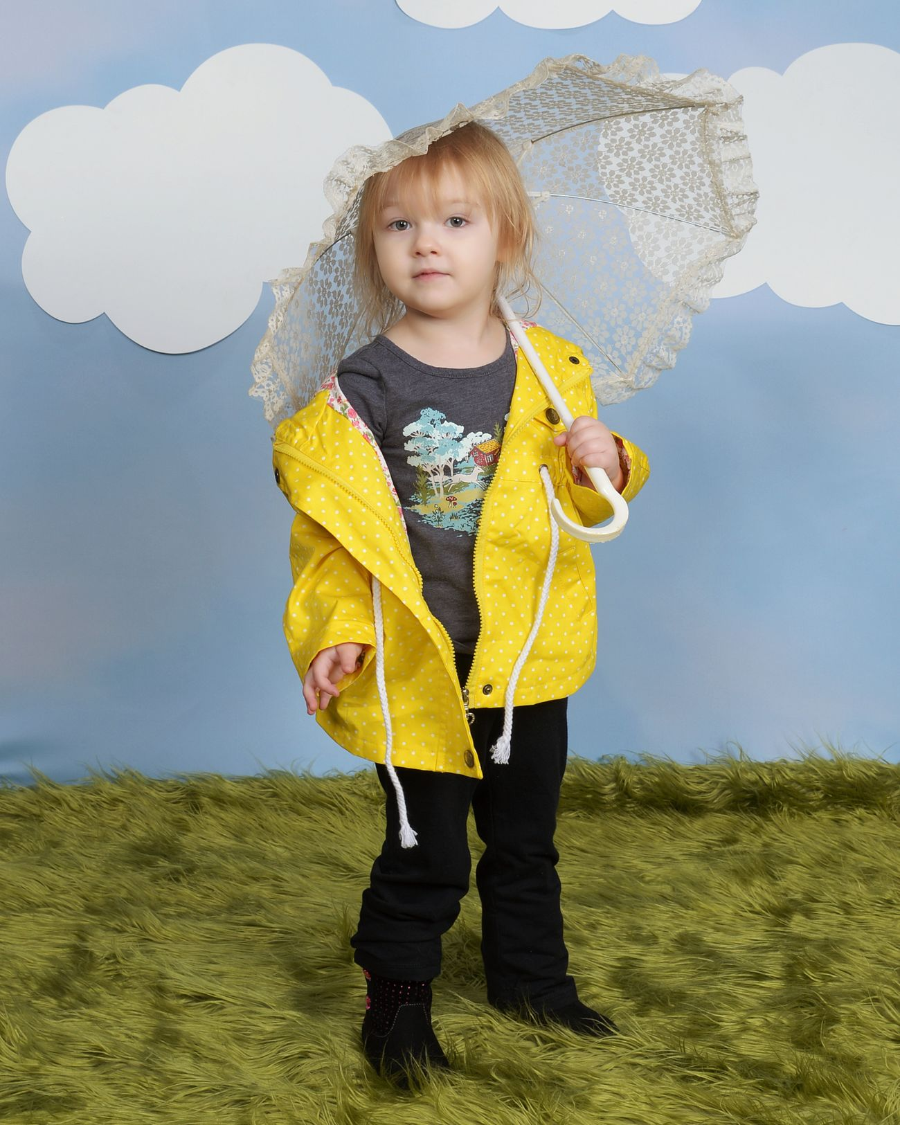Child Portrait Childhood Toddler  Ember Little One Children Photography Raincoat Umbrella Clouds Studio Photography Studio Child Photography Singing In The Rain