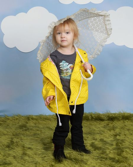 Child Portrait Childhood Toddler  Ember Little One Children Photography Raincoat Umbrella Clouds Studio Photography Studio Child Photography Singing In The Rain