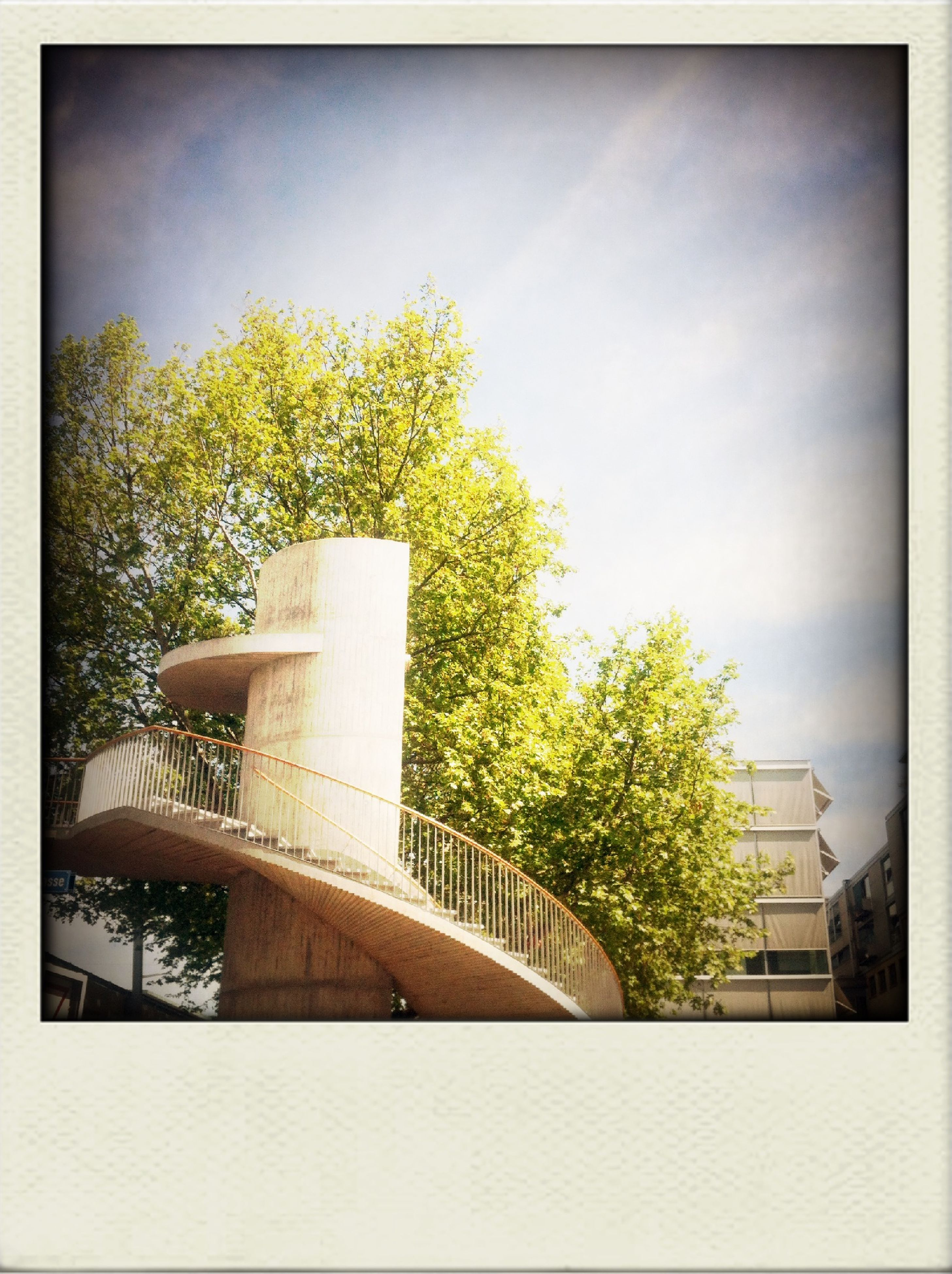 transfer print, auto post production filter, tree, built structure, architecture, low angle view, building exterior, growth, sky, day, no people, outdoors, plant, railing, nature, sunlight, green color, steps, clear sky, house
