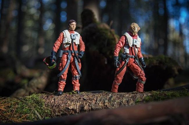 """The time is after the destruction of Starkiller base. Poe and Asty crash land on the moon Endor. They make their way to find civilization for possible help. Poe: """"Did you hear that?"""" Asty: """"Yes, what was that!?"""" A few more grunts are heard and the pilots stop in their tracks as they see a pack of little teddy bears surrounding them with spears. TBSFF Starwars Starwarstheblackseries Theblackseries TheForceAwakens Poedameron Asty Xwing Xwingpilots"""