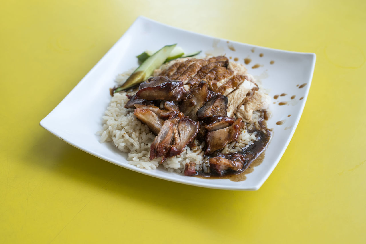 Chicken Rice with added Char Siew Char Siew Chicken Chicken Rice Close-up Day Food Food And Drink Freshness Healthy Eating Indoors  No People Plate Ready-to-eat Rice Table Yellow Background
