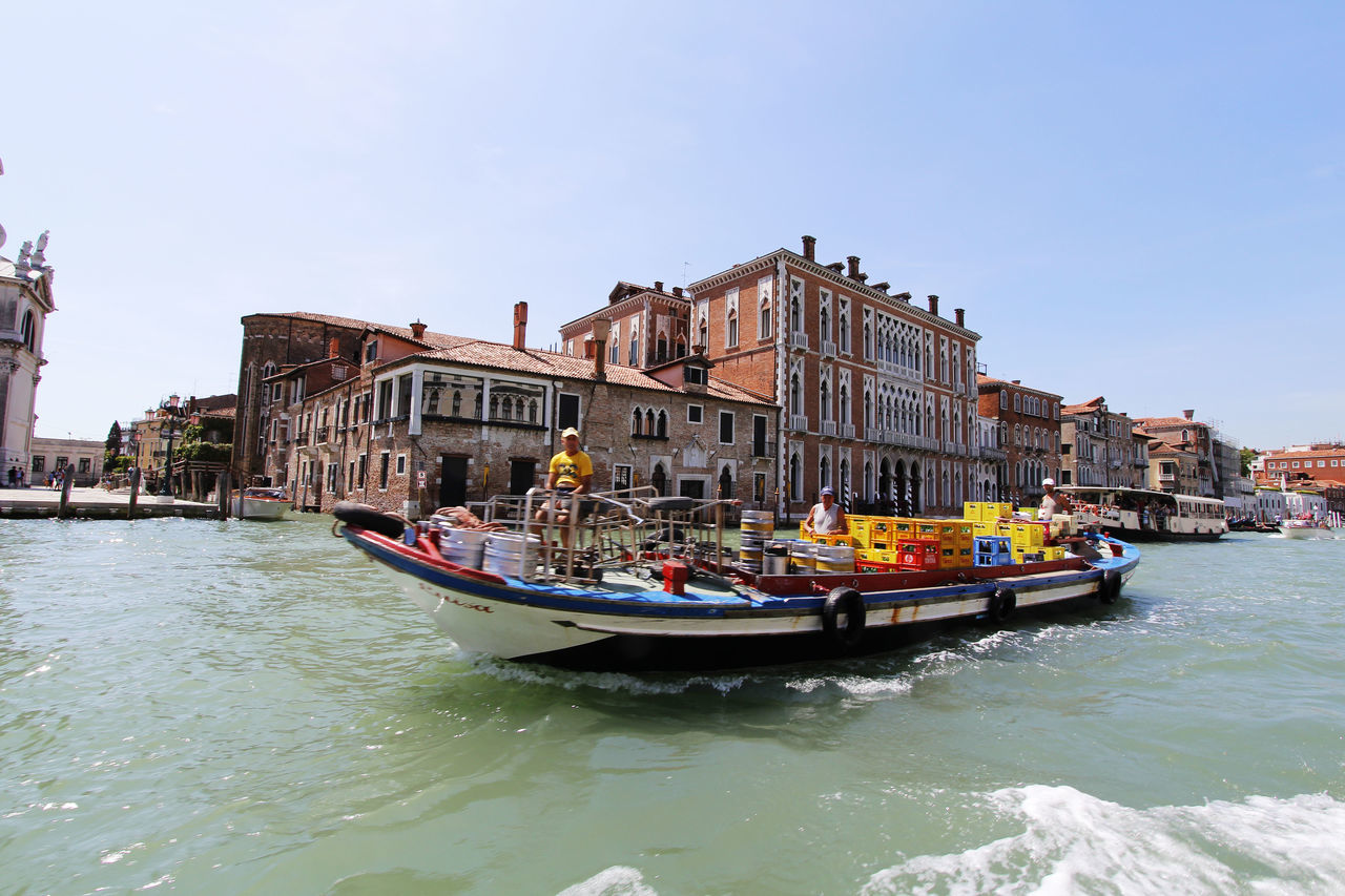 Blue Sky Boat Canal Cargo Boat Clear Sky Goods Grand Canal Italy Mode Of Transport Nautical Vessel Romantic City Transport Transportation Transportation Venice Water Waterfront Waves