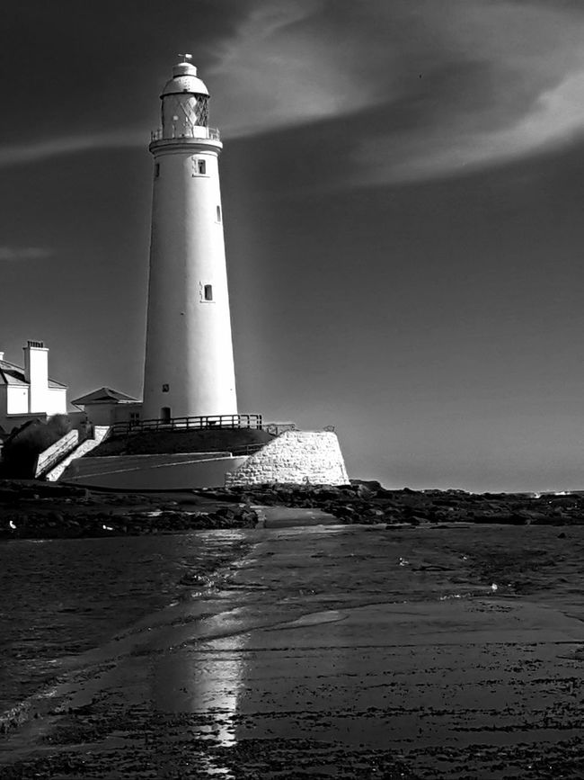 Lighthouse Black And White Beach Photography Stunning Whitley Bay Calmness Calm Waters