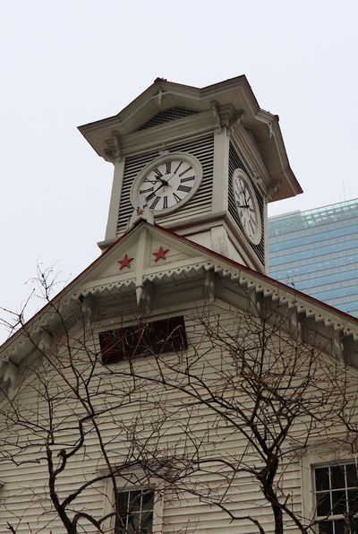 Clock Time Low Angle View Architecture Built Structure Clock Face Bare Tree