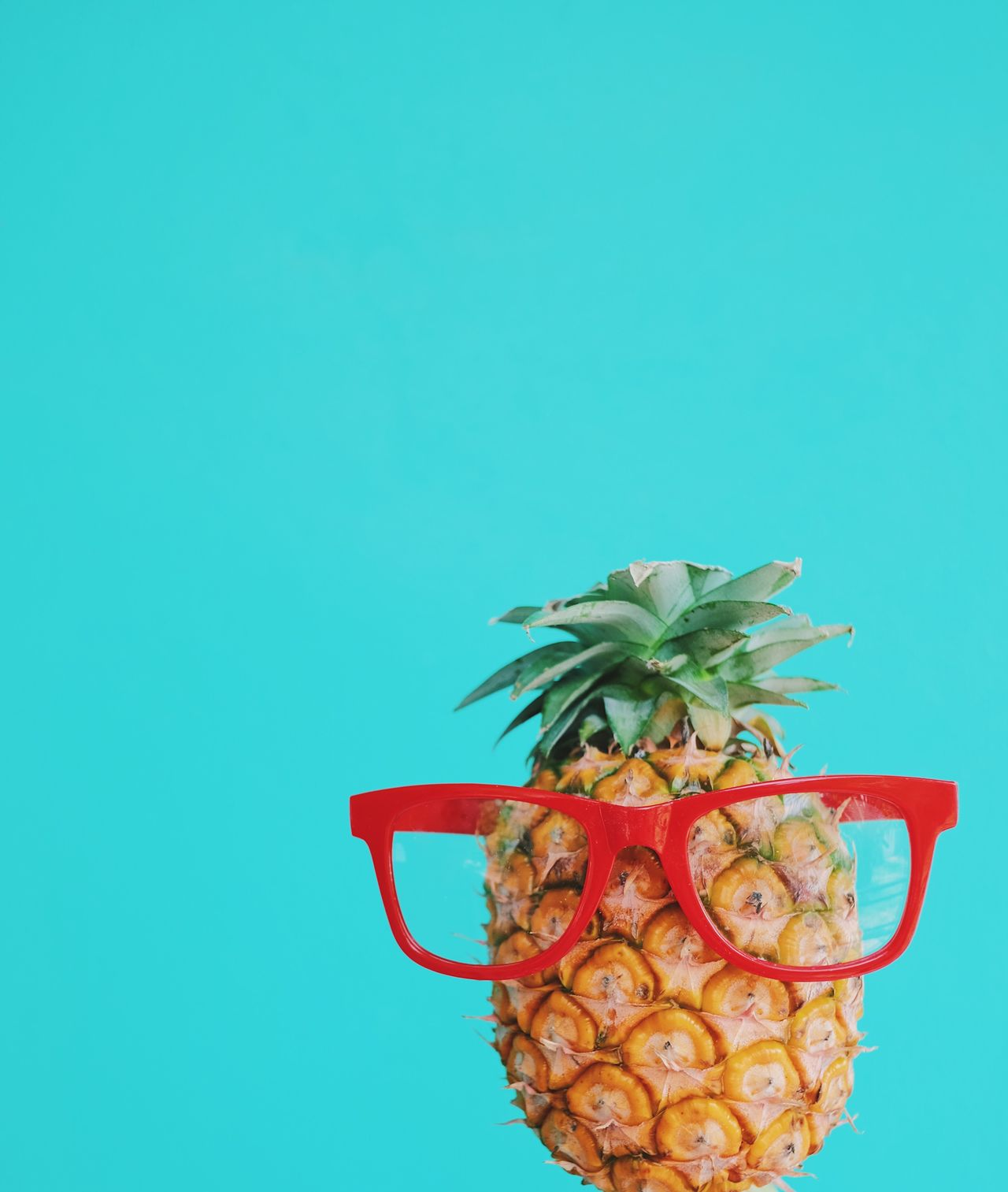 Copy Space No People Studio Shot Food And Drink Healthy Eating Red Food Freshness Blue Fruit Eyeglasses  Colorful Pineapple Fashion Summer Summertime Vacation Tropical Copy Space Colors and patterns Close-up Day