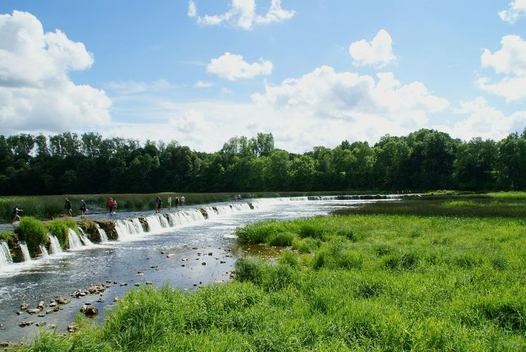 Waterfall Waterfalls Water Nature Travel Tranquility Holiday Outdoors Day Sky Vacations Tree Clouds River Gauja Abava Abavas Rumba Water_collection Landscape Nature Photography Nature Beauty In Nature People Kuldiga Latvia Traveling Home For The Holidays Finding New Frontiers Adapted To The City