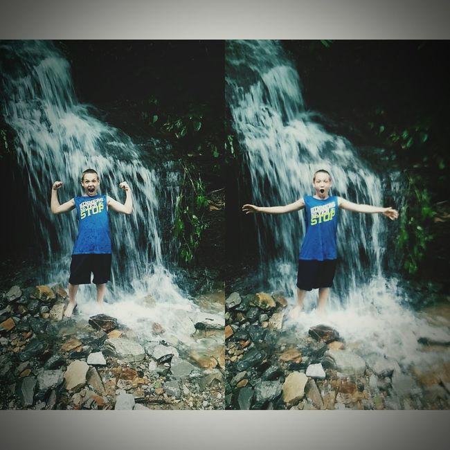 Waterfalls Little Waterfalls Little Brothers Admiring Nature's Beauty