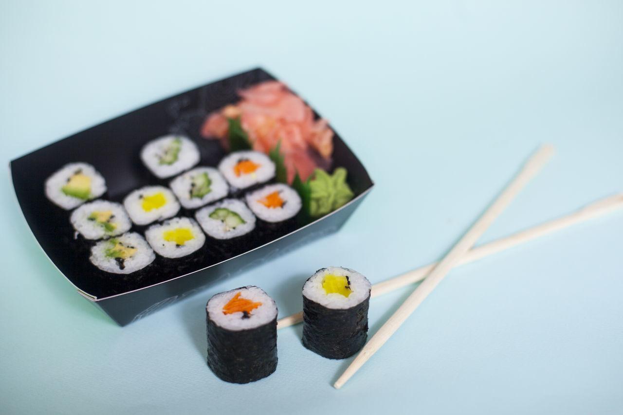 Blue Blue Background Chopsticks Close-up Colourfull Colours Freshness Healthy Eating Japanese  Japanese Food No People Ready-to-eat Sushi Vegan Vegetarian Vegetarian Food
