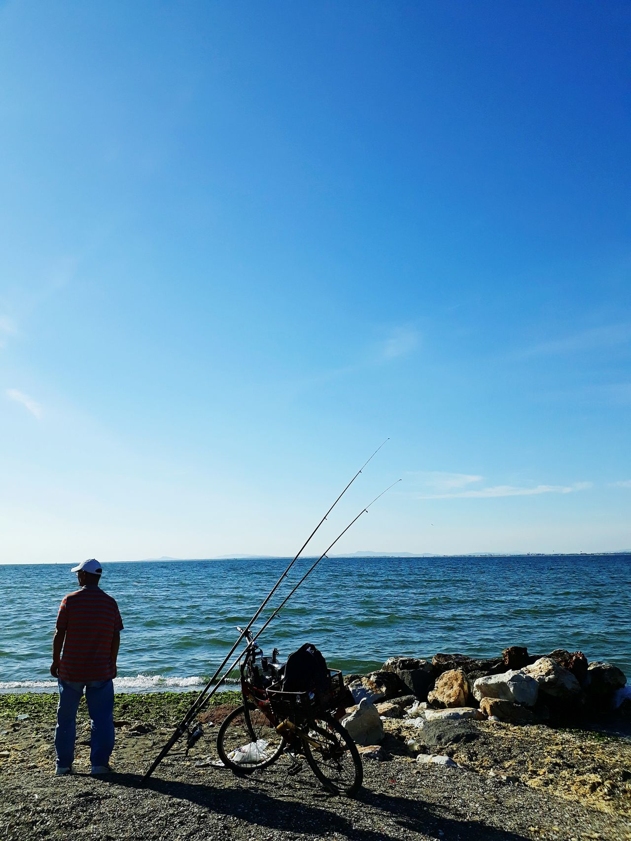 Sea Horizon Over Water Silhouette Tranquil Scene Fishing Fishing Tackle Clear Sky Outdoors Summer Checkthis Out Places I've Been Today Dramatic Sky Taking Pictures Takingphotos Taking Photos Scenics Silhouette