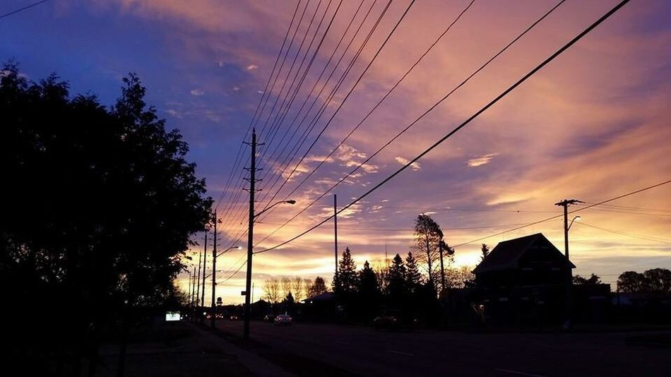 Electric city sky Power Line  Tree Electricity  Sunset Sky Silhouette City Scenics