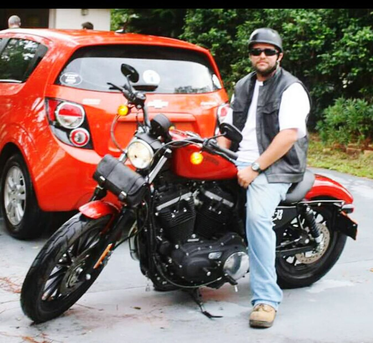 Matching vehicles Matching Vehicles Burnt Orange Daughter Son In Law Helmet Vest Ready To Ride Harley Davidson Bike Chevrolet Sonic