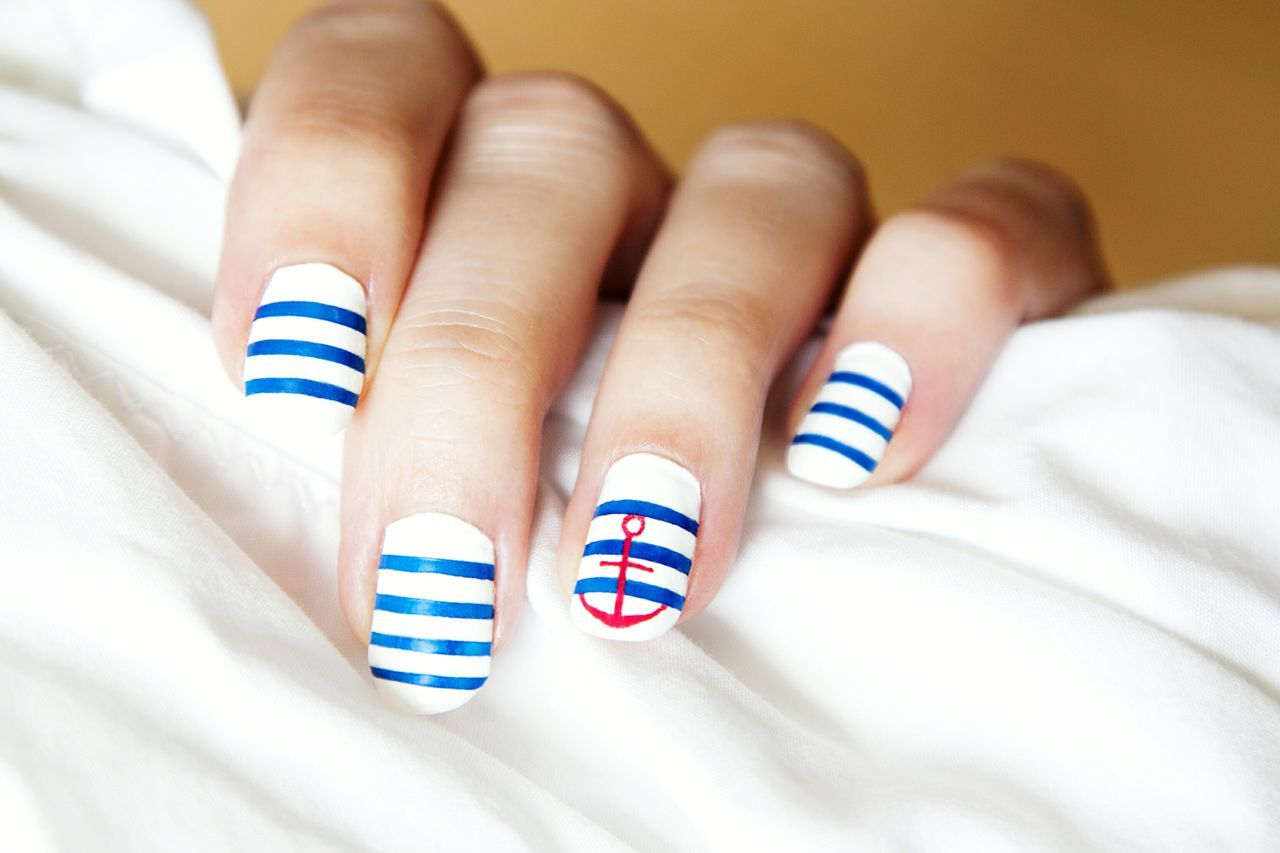 Nails Nail Art Nailart  Beauty Marine Stripes якорь маникюр  ногти красота морская тематика морской маникюр полосатый маникюр Striped Nails Manicure Striped Manicure