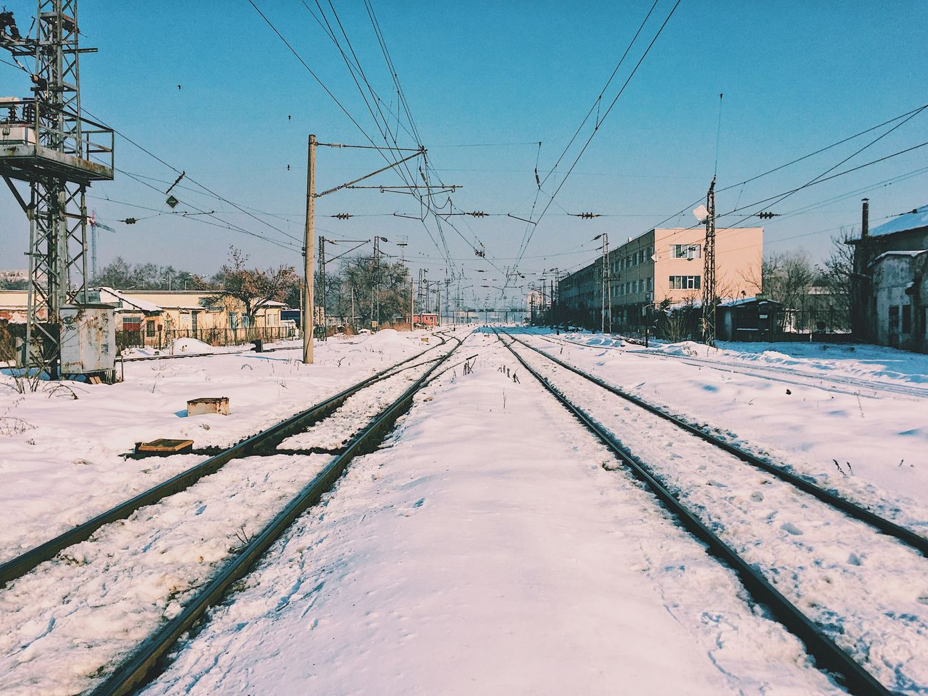 Snow Winter Cold Temperature Transportation Railroad Track Cable Outdoors The Way Forward Power Line  Day Sky No People Clear Sky IPhone IPhoneography Iphone6