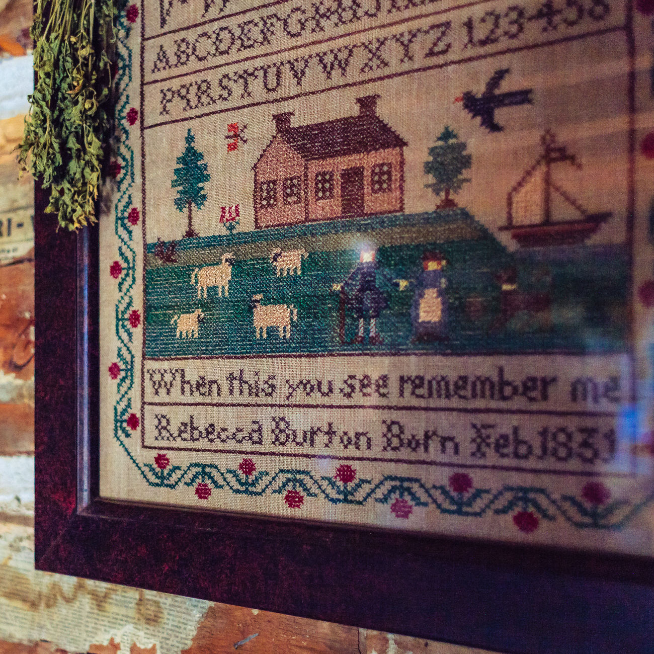 Close-up Cross-stitch Detail Embroidery Historical Littleton Museum