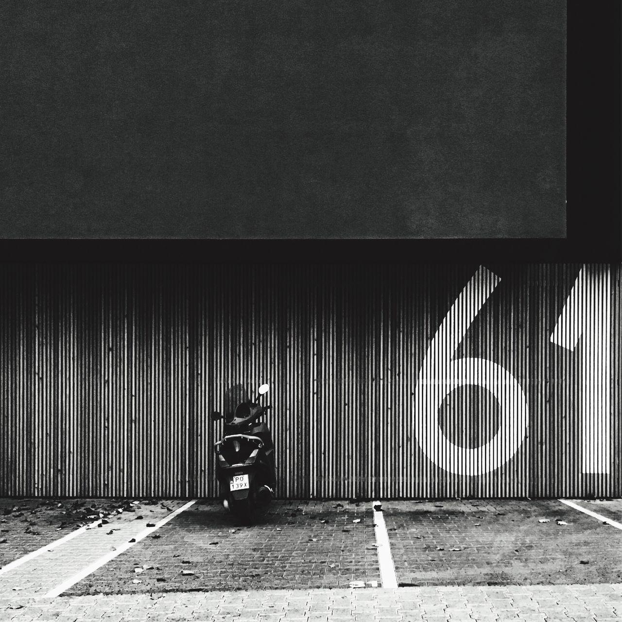 Blackandwhite Minimalism Number Digits Parking Modern Architecture Scooter