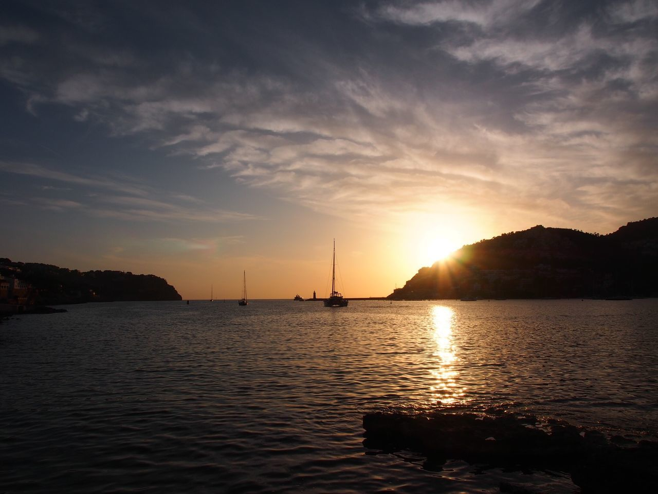 Sunset port andratx Tranquil Scene Sea And Sky Boats Mallorca No People