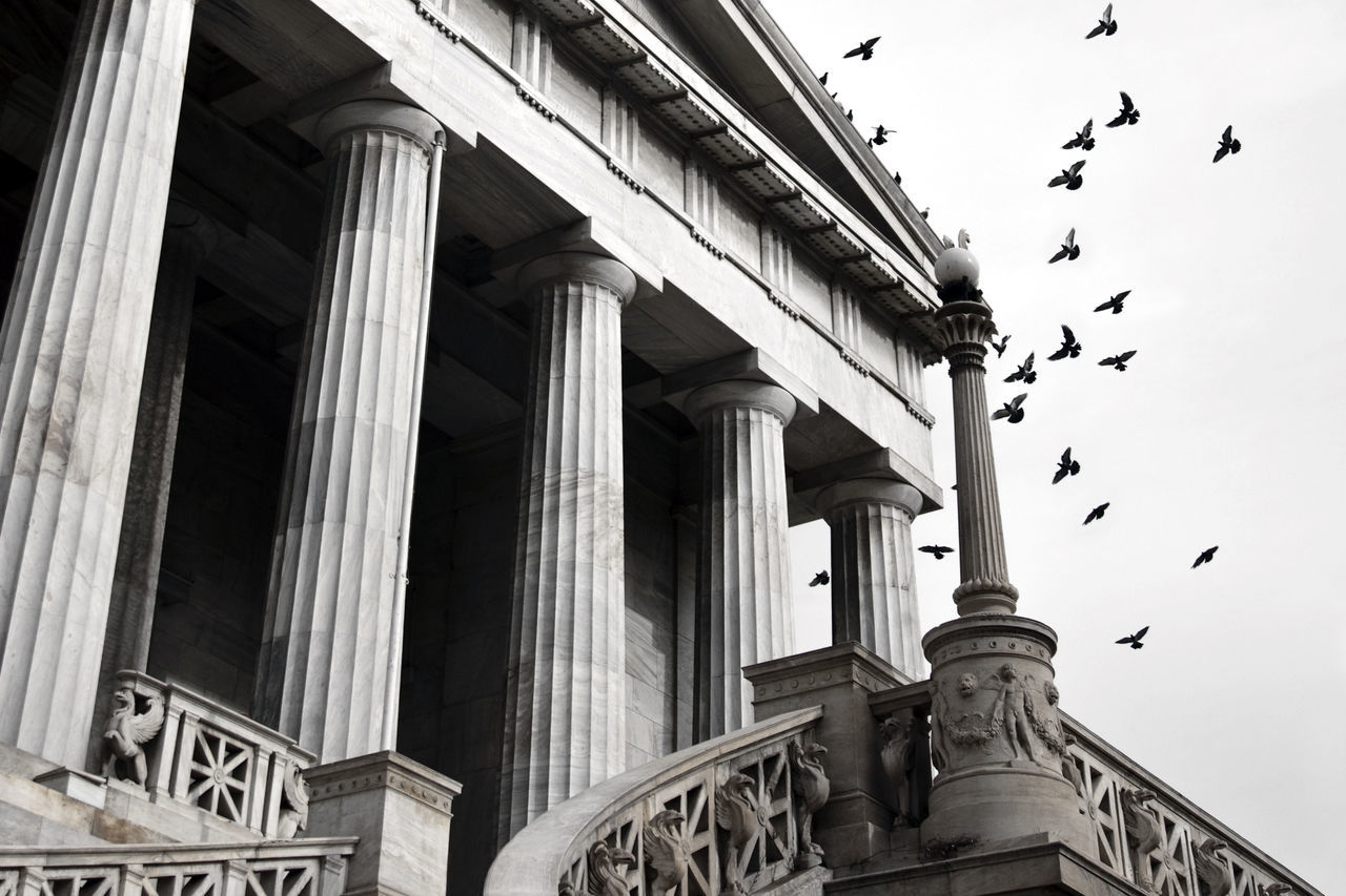 Low angle view of historic building and birds against sky