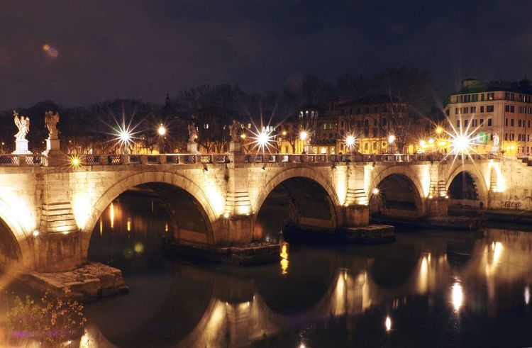 Bridge - Man Made Structure Connection Reflection Illuminated Architecture Built Structure Roma River Transportation Arch Night Sant'angelo Waterfront No People Building Exterior Outdoors Chain Bridge
