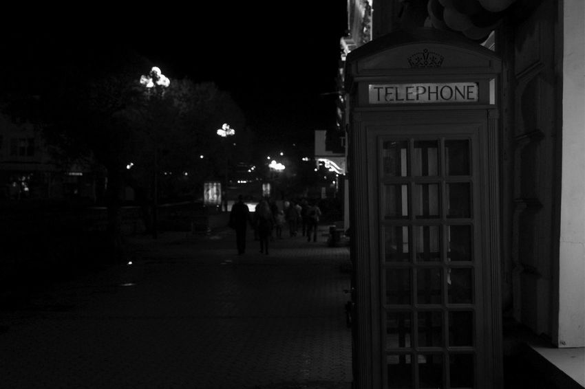 Blackandwhite Night Street Telephone