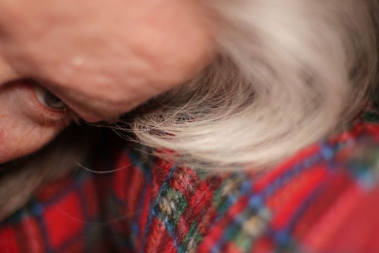 An eye watching an outstretched arm. Platinumhair Platinum Blonde Red Plaid Prominent Forehead Outstretched Arms Abstract Photo Abstract Image Watching Myself Plaid Material Female Body Part Eye Adults Only