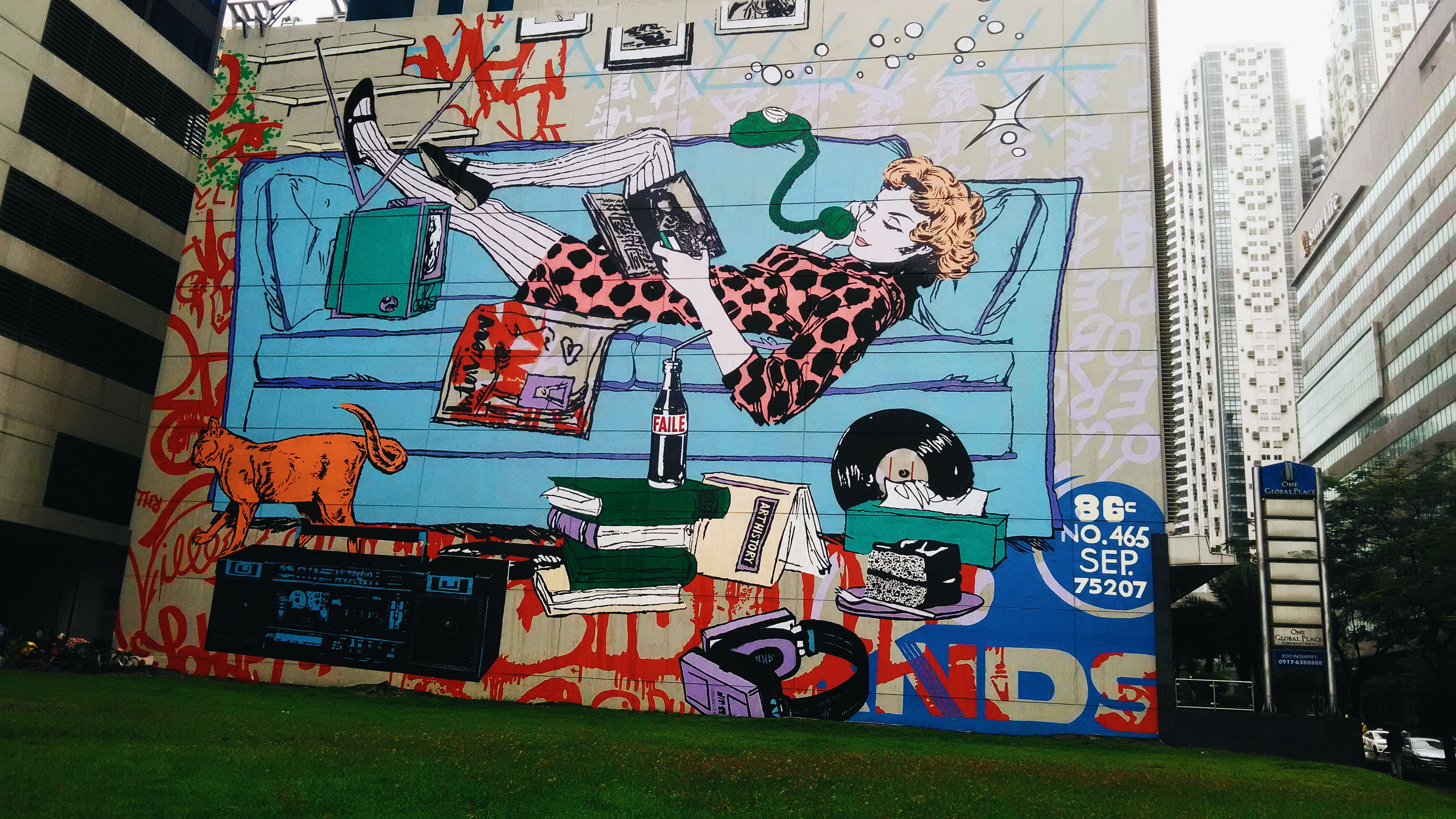 art, architecture, built structure, creativity, graffiti, multi colored, green color, city, building, day, street art, outdoors, grass, no people, sky, modern