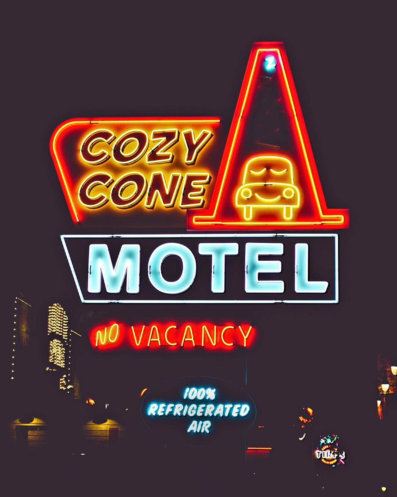 Yes vacancy Disney Dca Disney California Adventure Disneyland Carsland  Cars Land Waltdisney Pixar  Cozy Cone Neon Text Hotel Travel City Vacations Motel Restaurant Night Bar - Drink Establishment Travel Destinations Illuminated Sky No People Outdoors