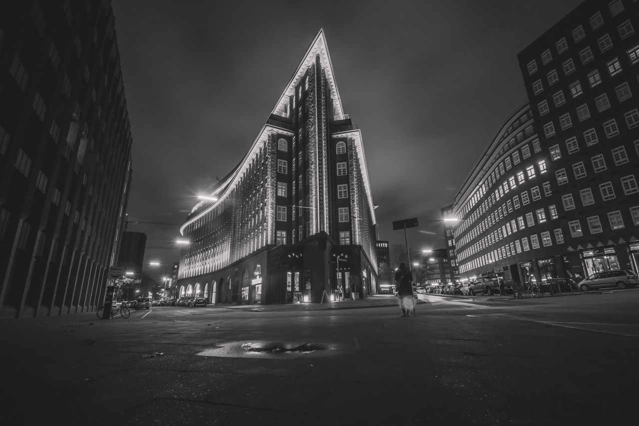 Architecture Architecture Black & White Black And White Building Exterior Built Structure Chilehaus Chilehaus Hamburg City City Lights City View  Cityscape Cityscape Cityscapes Exterior Hamburg Illuminated Long Exposure Modern Modern Architecture Night Night Lights Night Photography No People