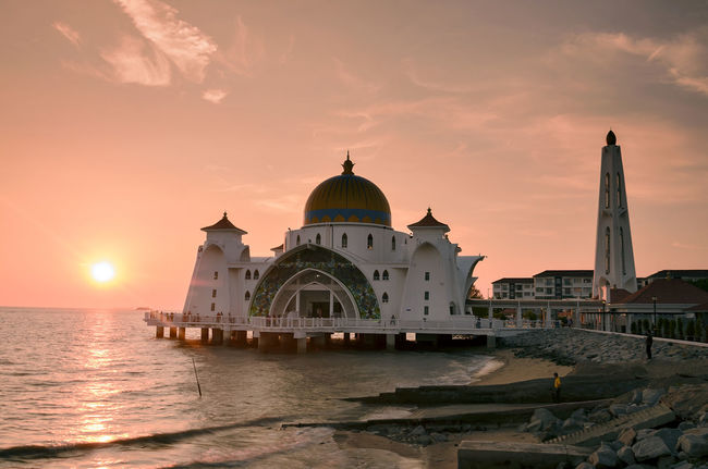 Architecture Mosque Beautiful Scenery Nacture Journey Outdoors Sunset Silhouettes Lanscape Photography Tourism Sea And Sky Travel Holiday Trip Tourist Destination Modern Melaccamalaysia Masjid Selat Clouds And Sky