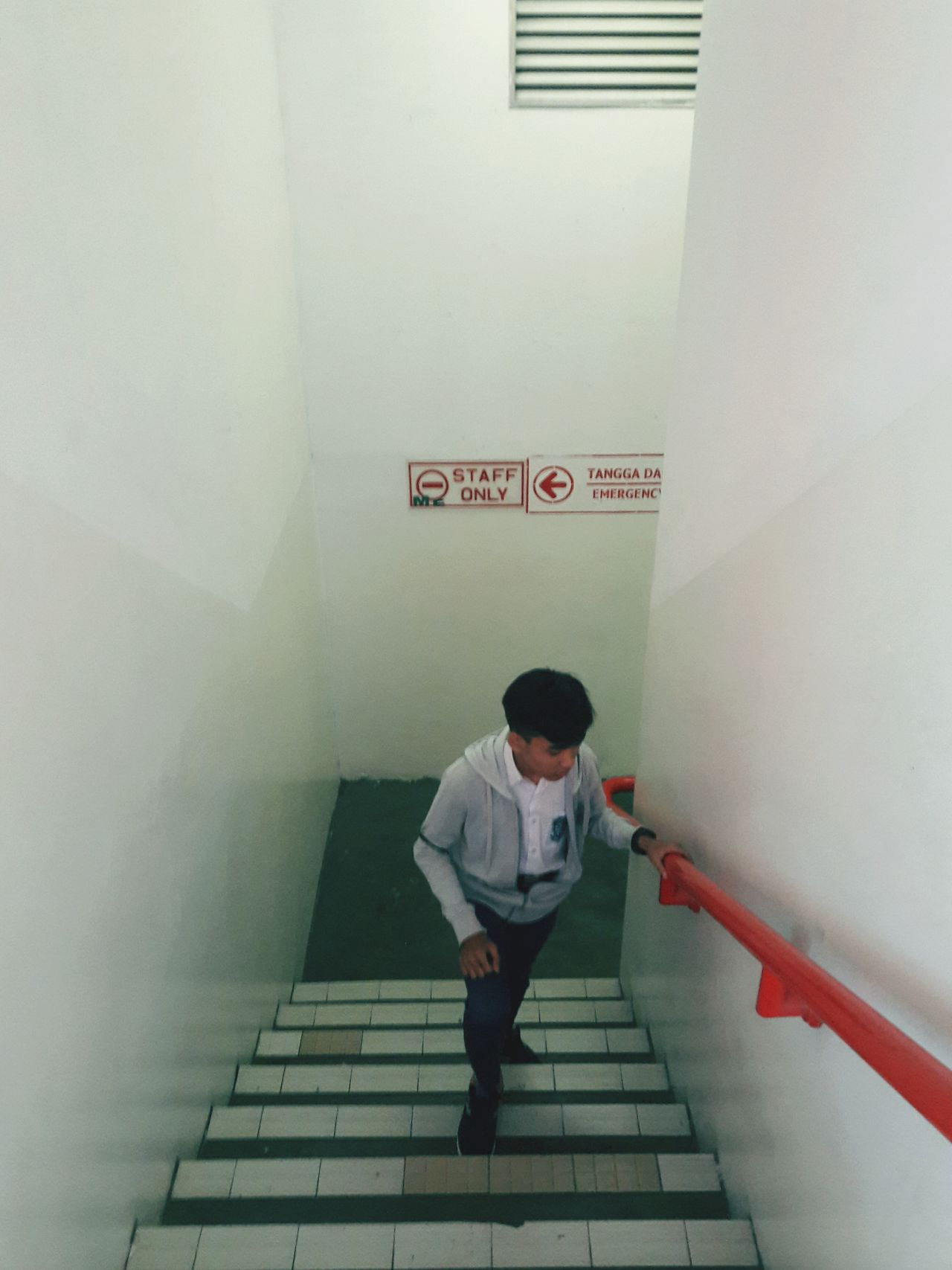 Staircase Steps And Staircases Steps One Person Text Full Length Exit Sign Adult Adults Only Communication Indoors  Young Adult Standing Built Structure People One Woman Only One Young Woman Only Lifestyles Only Women Women First Eyeem Photo