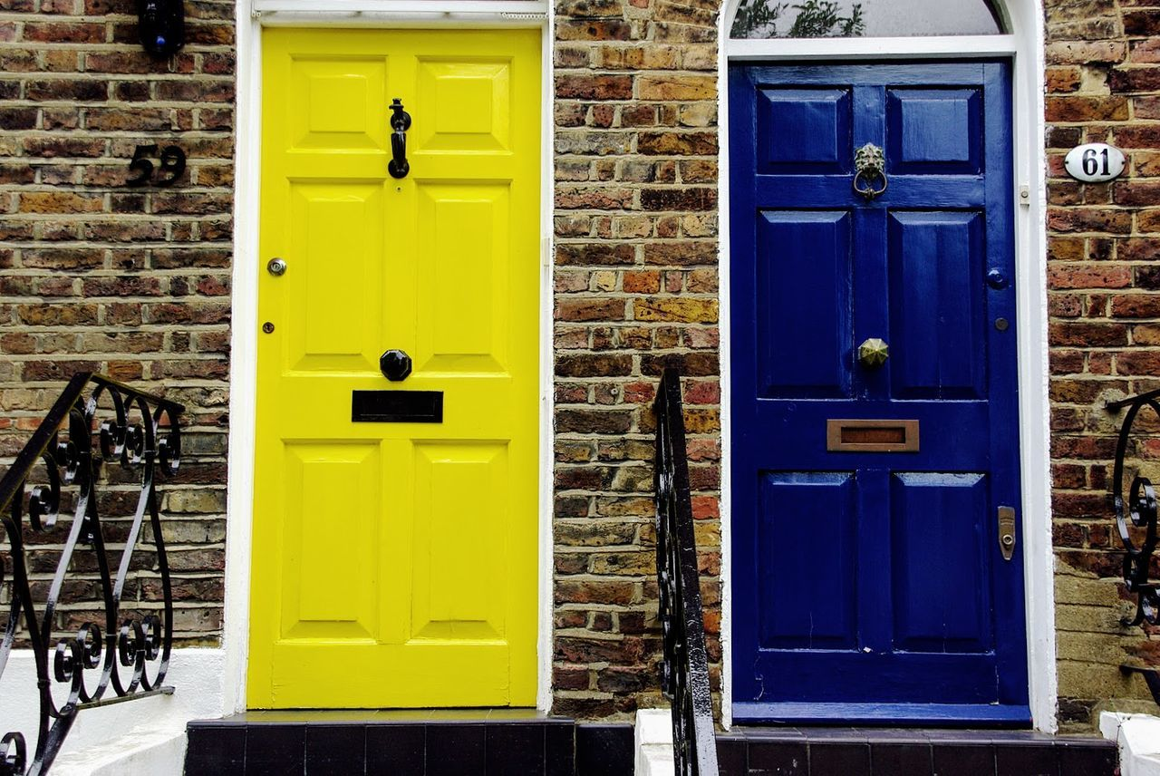 London snapshots, 2009 Architecture Blue Building Exterior Built Structure Day Façade Full Frame Colorful No People Outdoors Yellow Hampstead Heath Doors