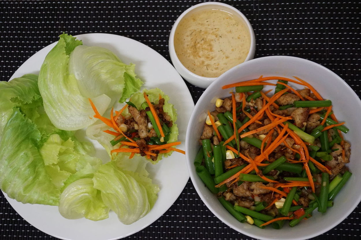 My chicken salad, Homemade Food Homemade Food And Drink Food Ready-to-eat Healthy Eating Freshness Close-up Leaf No People Indoors  Onions Carrots Spring Onion Vegetable Lettuce