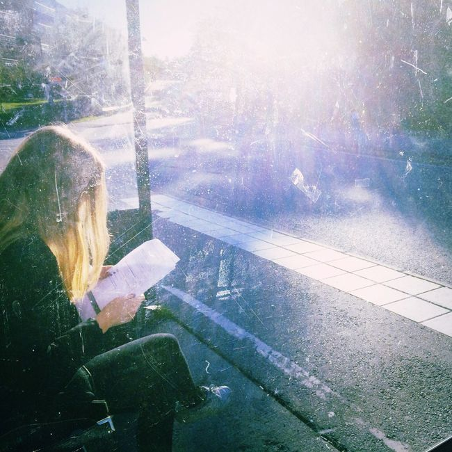 preparing for something great. Waiting Bus Stop Commuting Early Morning Sun Sunlight Against The Sun Girl Blonde