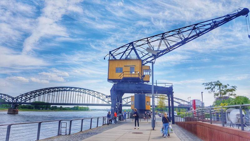 Köln Rheinauhafen Built Structure Architecture City Cityscape Cologne Kran Crane Harbour River Riverside Water Südbrücke Promenade