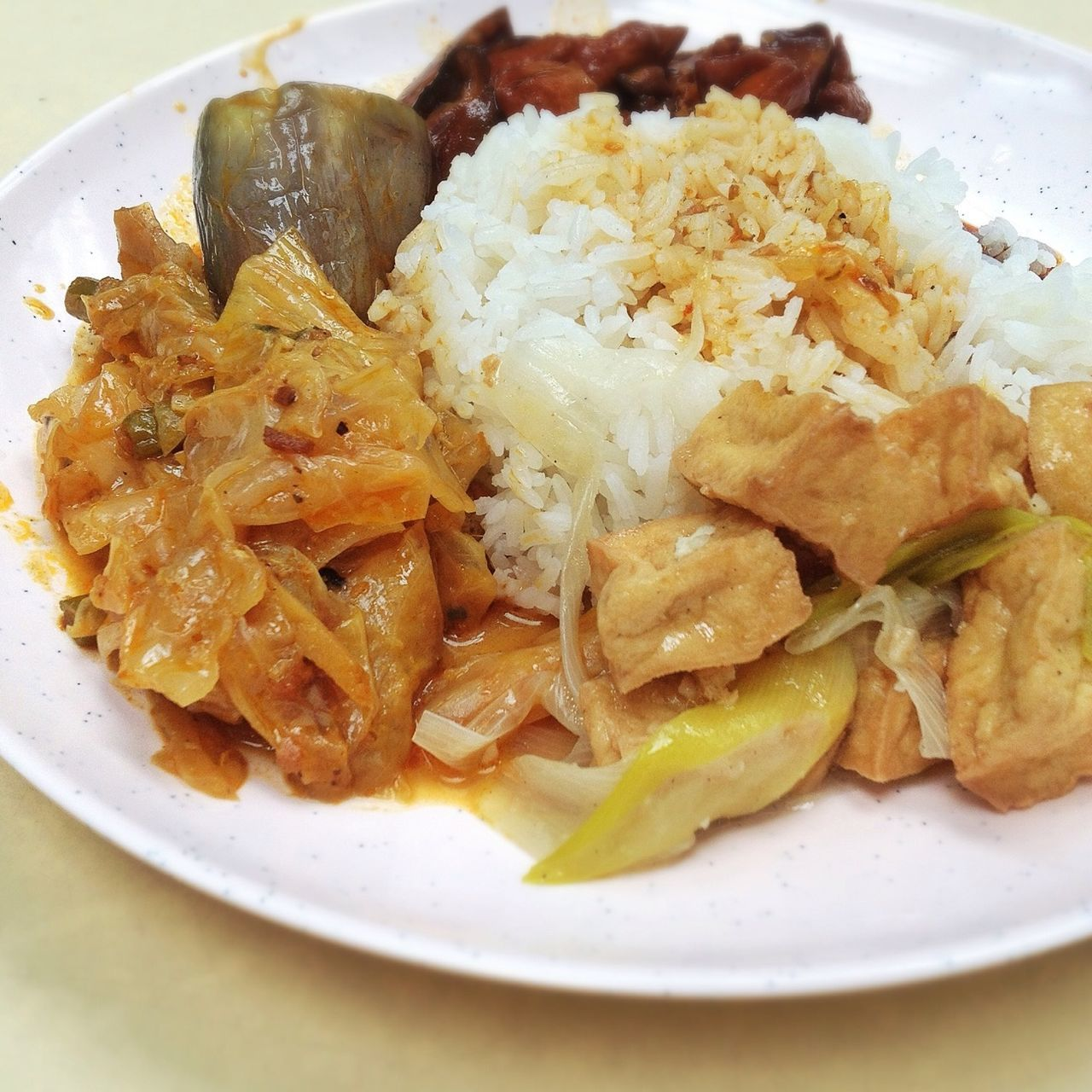 Close Up Of Meal With Meat, Rice And Cabbage