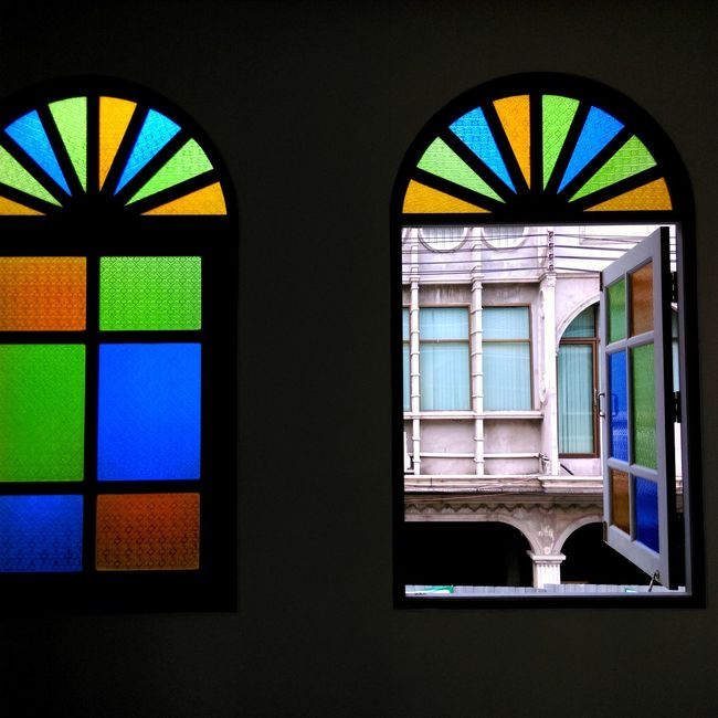 Arch Architecture Colorful Glass - Material Green Color Multi Colored No People Window