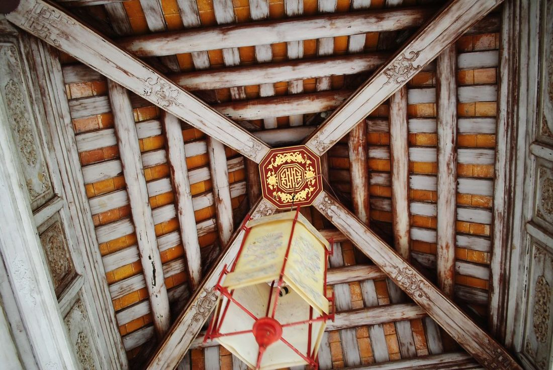 Details. Architecture Wood - Material Low Angle View No People Built Structure Pattern Chinese Architecture Vietnam Ceiling Design Ceiling Details Red Gold Beams Wood Beams Wood Ceiling