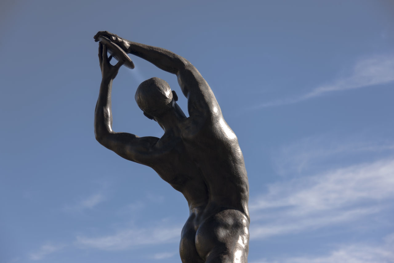 Discus Thrower, Kostas Dimitriadis (1924) 1st price in sculpture/Olympic Games 1924, Paris Athens Clear Sky Day Discus Thrower Low Angle View No People Olympicgames Outdoors Sculpture Sky Statue Statue