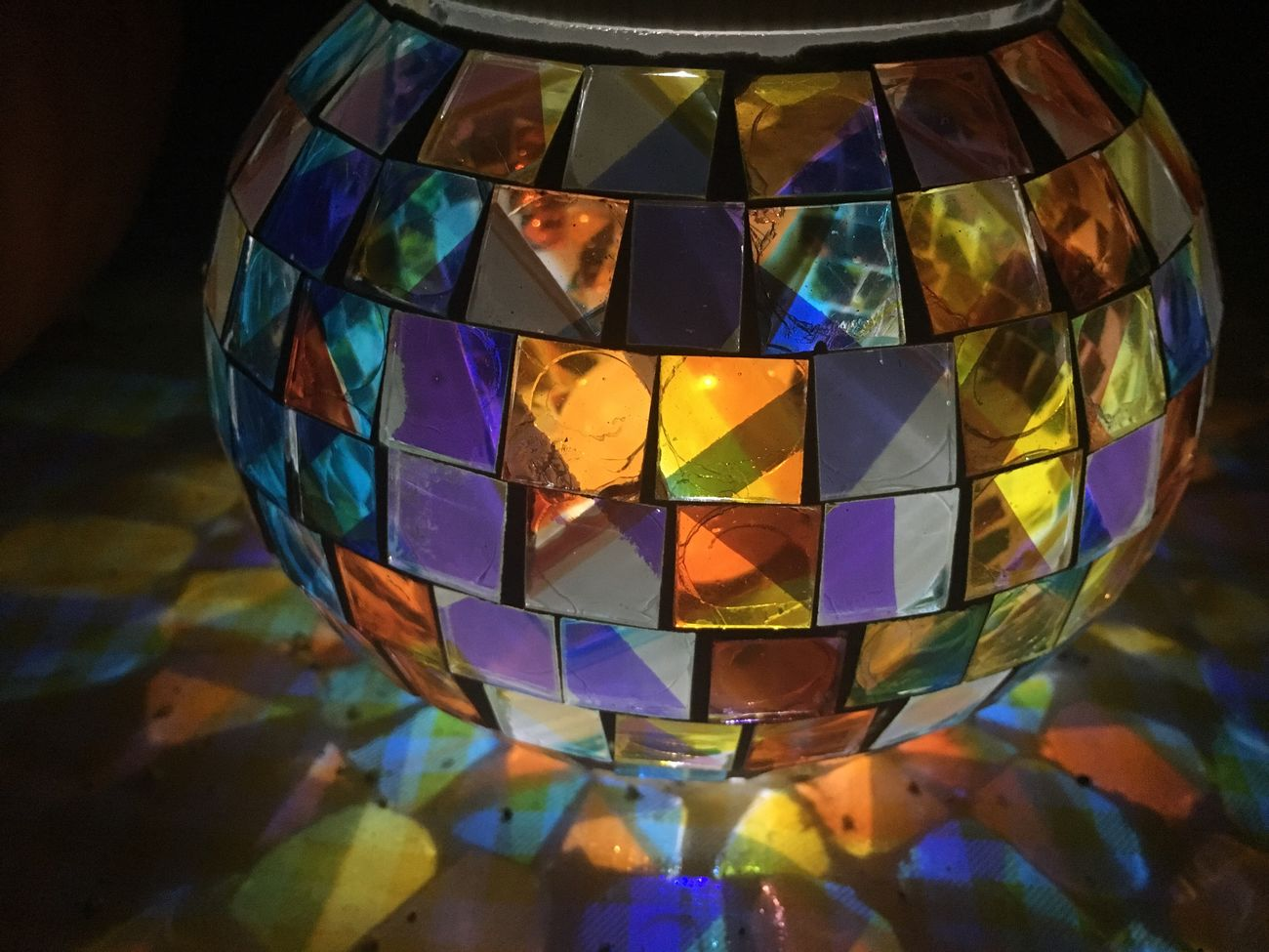 Multi Colored Close-up No People Lamp Light Rainbow Mosaic Rainbow Colors Night Night Lights Night Photography Cozy Warmth Tablecloth Table Orb Sphere