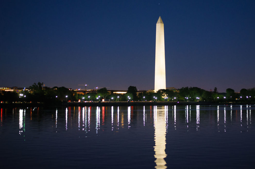 Architecture Clear Sky Illuminated Night Outdoors Reflection Travel Destinations Washington Monument From MLK Jr. Memorial  Washington Monument, Washington DC Washington, D. C. Water