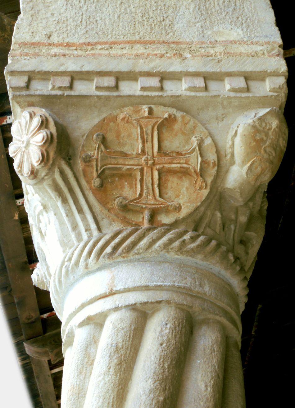 Medieval Capital Stone Greek Symbols Cross Romanesque Religious  Church Basilique Column Capitals
