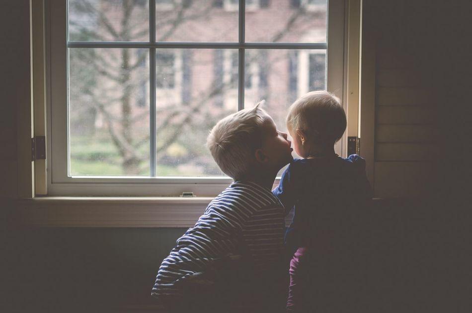 Siblings Family Child Childhood Children Love Kiss Kids