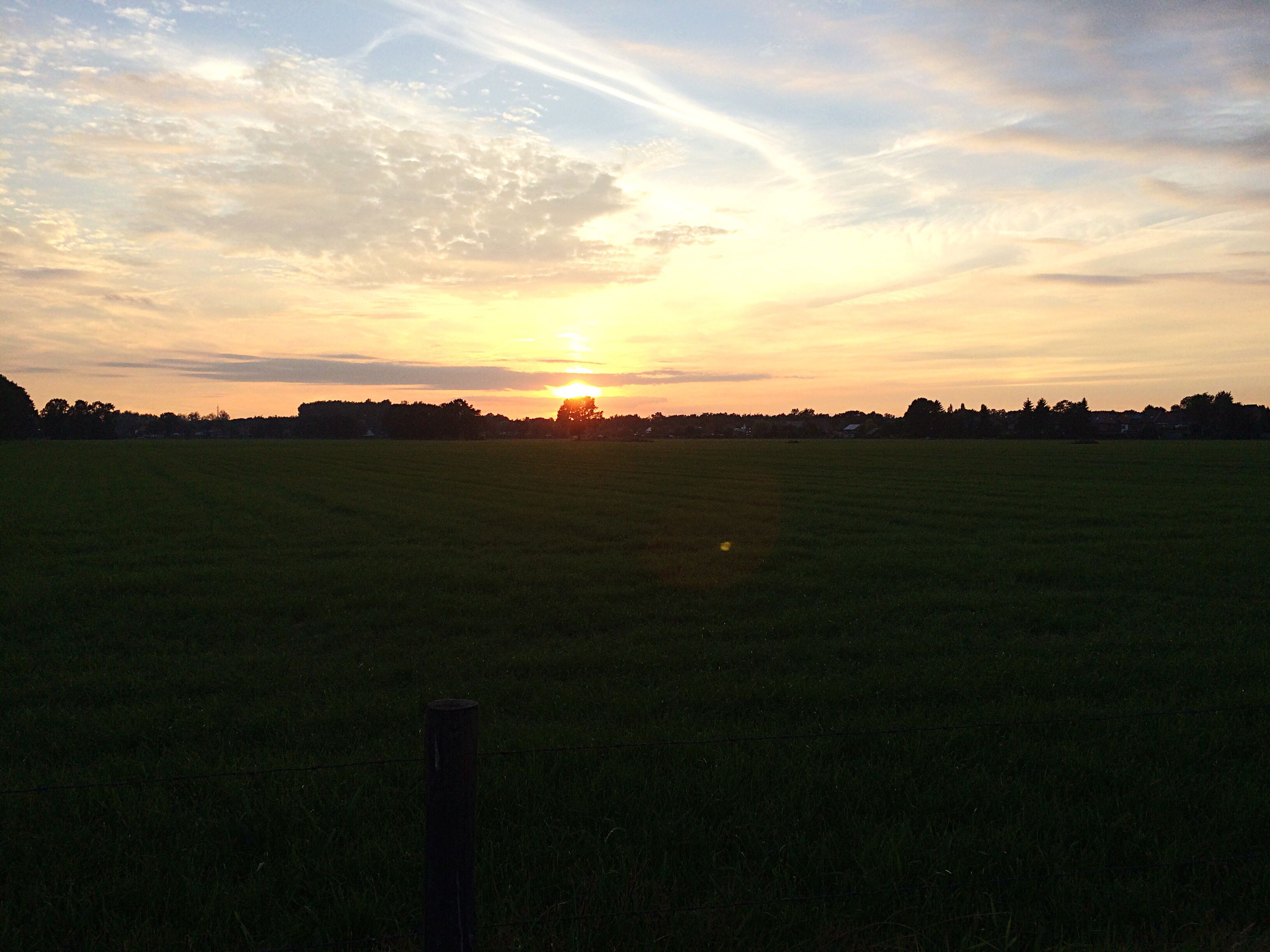 sunset, sky, sun, landscape, field, tranquil scene, scenics, tranquility, beauty in nature, cloud - sky, grass, nature, orange color, idyllic, sunlight, rural scene, cloud, no people, outdoors, sunbeam, horizon over land, grassy, cloudy, dramatic sky, remote, growth, non-urban scene, green color