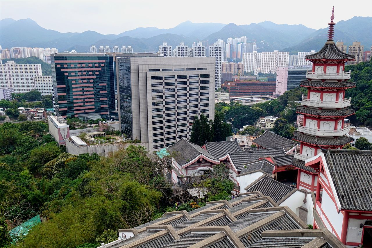 Architecture Building Chinese City Day Geometry Highrise HongKong Modern Mountains New Old Outdoors Roof Shapes Shatin Sky Tower Traditional Travel Trees Urban Landscapes With WhiteWall Landscape The Architect - 2016 EyeEm Awards